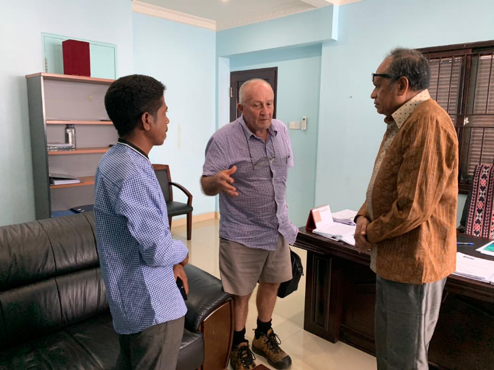 Graeme and Jose meeting with the new boss, Dr. Jose Luis Guterres, for development in Oecusse